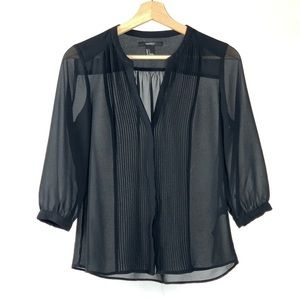 Forever 21 Black Sheer Button Down Blouse Small